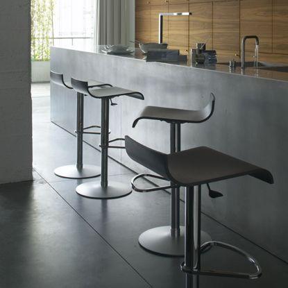 ligne roset pam barstool wooden version bar stool adjustable via a gas piston with seat in. Black Bedroom Furniture Sets. Home Design Ideas