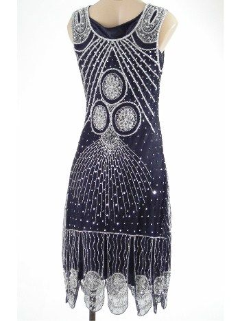 all this gatsby stuff has really got me wanting to party in a flapper dress. like this navy and silver one!