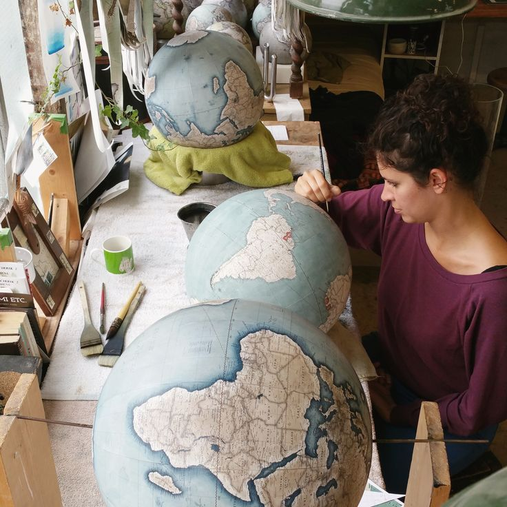 Studio of Bellerby & Co Globemakers, London. Handcrafting bespoke, handcrafted & hand painted traditional & modern world globes.