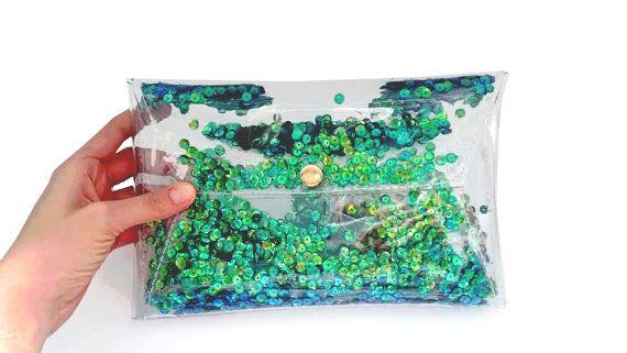 Emerald green sequins clutch, mermaid bag, mermaids bag, iridescent clutch, vegan green bag, 90s bag, envelope metallic bag, glitter clutch