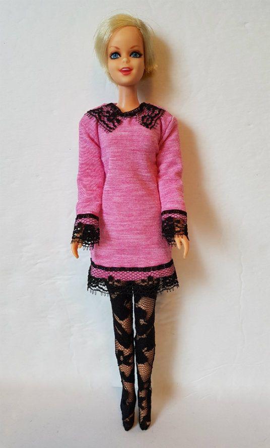 TWIGGY Francie DOLL CLOTHES Goth Pink Dress & Stockings HM Fashion  NO DOLL d4e #DOLLS4EMMMA #Clothing