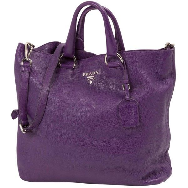 Pre-owned Prada Leather Tote ($892) ❤ liked on Polyvore featuring bags, handbags, tote bags, purple, women bags handbags, zip tote, zippered leather tote, zip tote bag, leather man bags and purse tote
