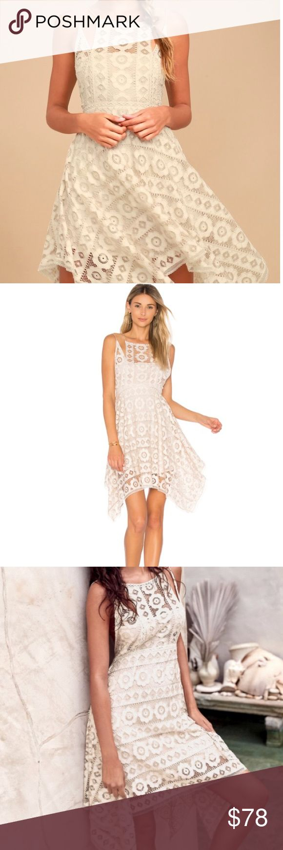 NEW Free People Just Like Honey Ivory Lace Dress 6 So pretty and feminine, this lacey mini dress features an asymmetrical hem with a unique high neckline. Perfect for a spring/summer function. Sold out online. Very beautiful and detailed dress.  * Lined * Hidden back zipper closure * Fit-and-flare shape Measurements for size 6 * Bust: 34 in * Waist: 29 in * Length: 32 in Free People Dresses Asymmetrical