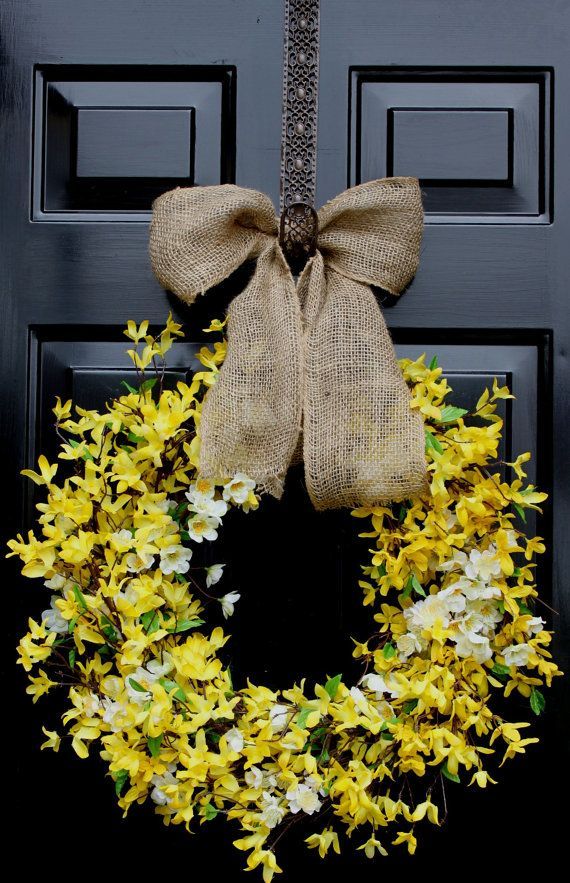 Spring wreath - Forsythia Wreath -  Summer Wreath - Home decor - Country Cottage - Wreath for door