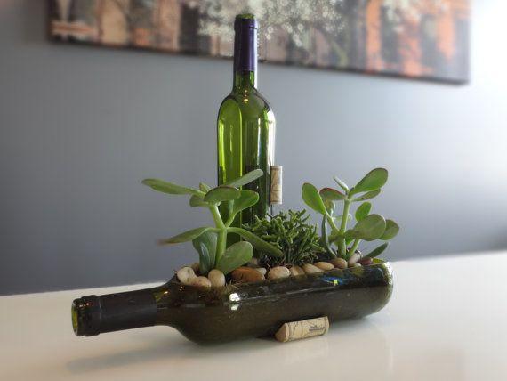 Jardin de bouteille de vin Succulent planteur par Rehabulous