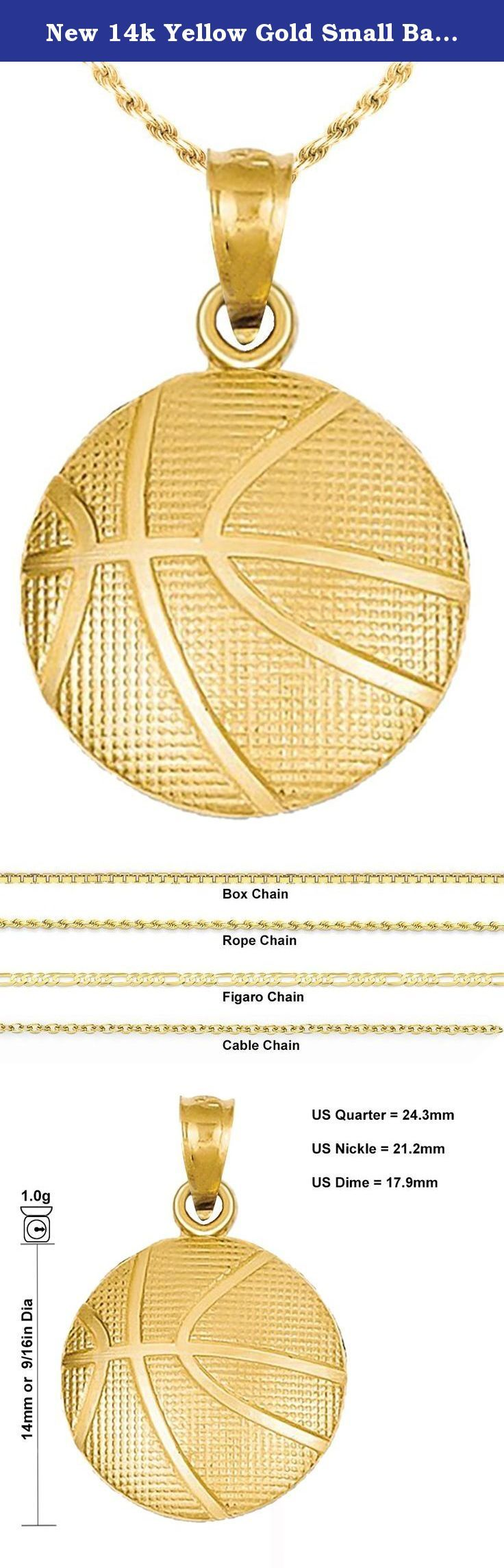 New 14k Yellow Gold Small Basketball Pendant Charm with Necklace. A brand new 14k yellow small basketball pendant with your choice of a 16in, 18in, 20in or 24in 14k gold chain in the follow styles and sizes: a 1.0mm, 1.5mm, 1.75mm or 2.0mm rope chain, a 1.0mm or 1.5mm box chain, a 1.5mm cable chain or finally a 2.5mm Figaro chain. Basketball was invented in 1891 by Canadian physical education instructor James Naismith as a less injury-prone sport than football in Springfield…