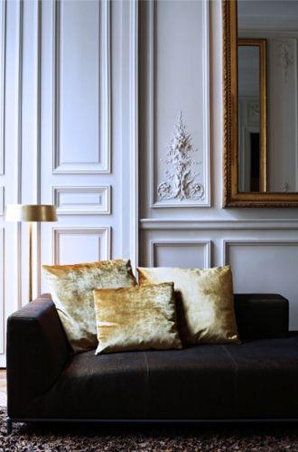 black sofa with yellow velvet pillows | living room design by Studio KO