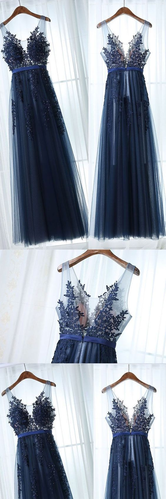Charming Dark Blue Prom Dress,Floor Length Evening Dress,Sleeveless Party Dress,Appliques Prom Gown