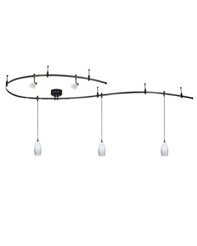 Vaxcel Lighting CB31499 DB Monorail Track System with 3 White Wiped Pendants and 2 Vanilla Ice Heads in Dark Bronze Finish
