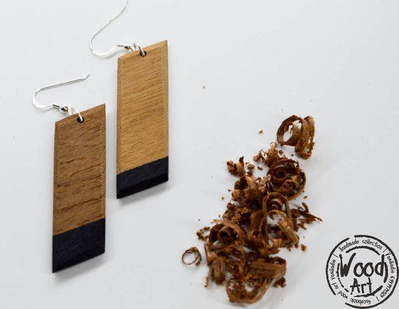 Long Wood Earrings Wood Dangle Earrings Unique by TheWoodArtShop