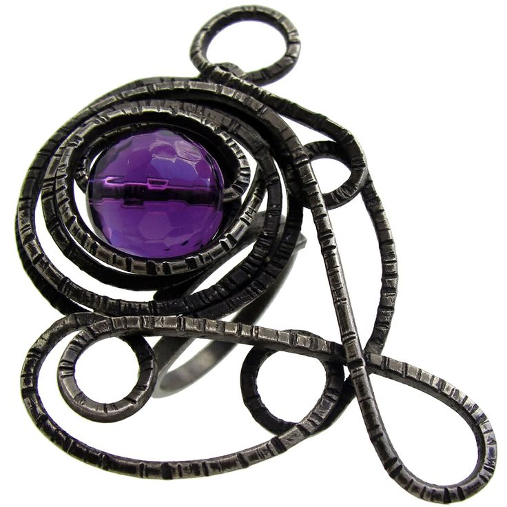 Emmanuela.gr - Handmade Jewelry - Rings :: Handmade Oxidized Sterling Silver Ring with Amethyst Stone