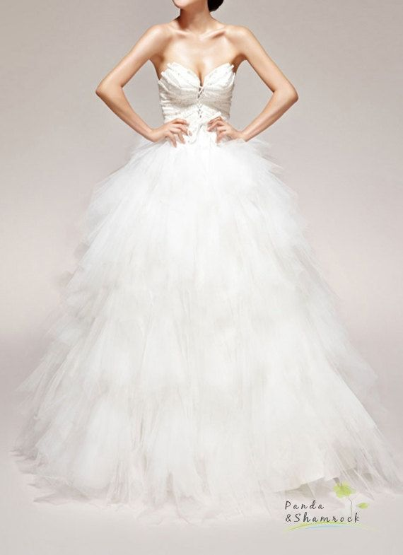 feather/wedding gown/women clothing/dress/long/lace/tulle/elegant/custom made/ALL SIZE. $310.00, via Etsy.