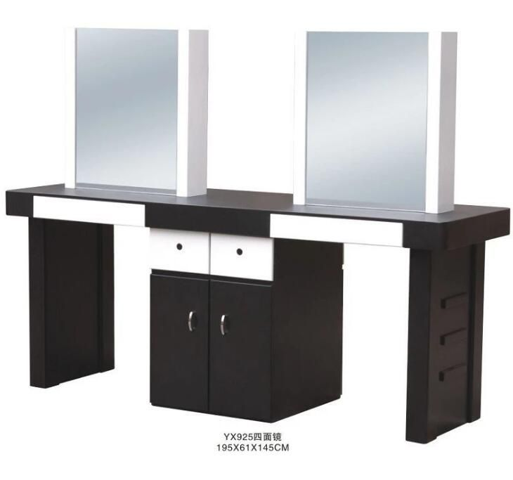 Double Hair Salon Mirror Styling Stations Hairdressing Furniture Design Beauty Spa Equipment Hair Salon Furniture Manuf Salon Mirrors Hair Salon Manicure Table