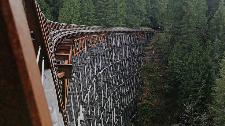 The Kinsol Trestle is an impressive 187 metres long and 44 metres high, making it one of the tallest free standing timber trestles in the world. Trestles are i