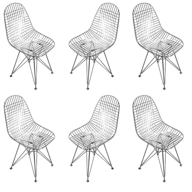 Chrome Re-Edition Eames DKR Wire Side Chair for Herman Miller Chairs, Set of Six 1