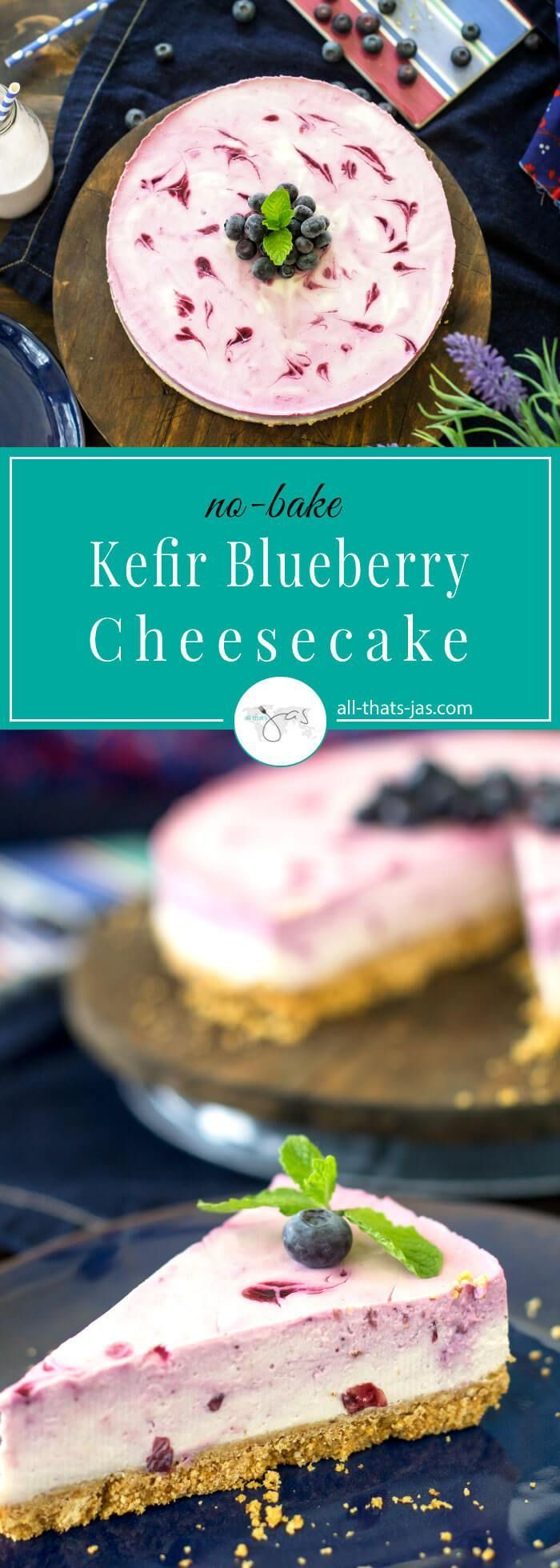 This easy probiotic no-bake cheesecake is made with blueberry kefir and it's gluten-free, super delicious, and good for you. | #NancysYogurt #kefir #ad #sponsored #nobake #cheesecake #glutenfree #probiotic #dessert #recipe #organic #healthfood #blueberry