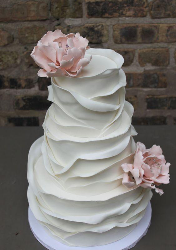 Gorgeous white layer textured wedding cake; Featured Cake: Alliance Bakery