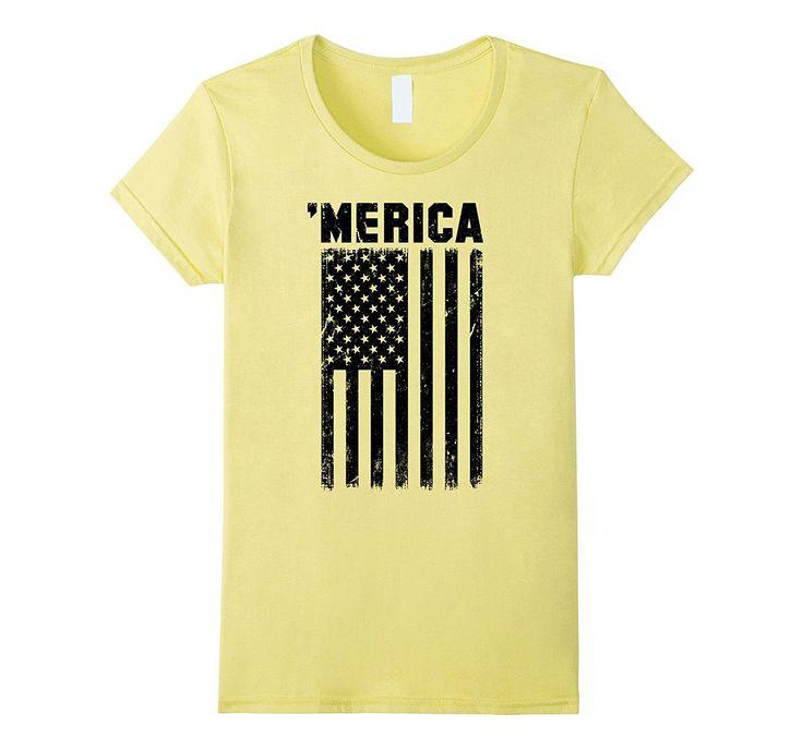 Vintage Subdued Black American Flag Merica T-Shirt