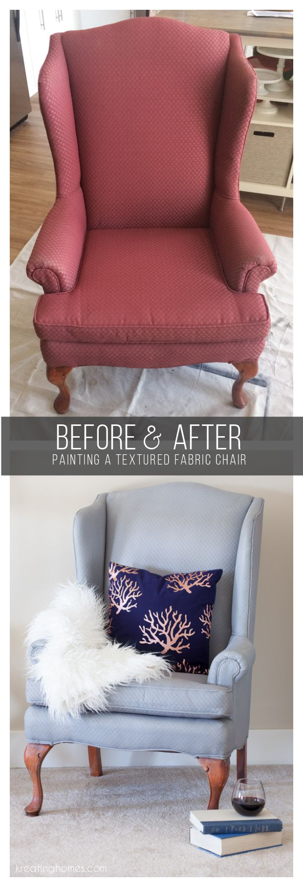 Revamp an old fabric chair with just a couple coats of paint. With a couple tricks you can even keep the texture that makes your piece so fabulous!