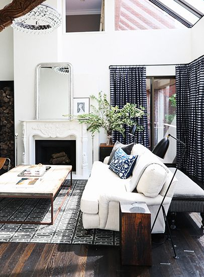 Designer Crush: @catherine gruntman Wong // living room, white English roll arm sofa, hardwood floors, rustic coffee table, ornate fireplace