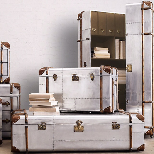 Restoration Hardware Trunks In Polished Aluminum Bennett
