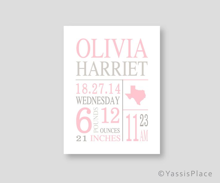 Canvas Birth stats wall art baby girl pink nursery art Pink Gray Birth Announcement personalized baby gift Girl nursery decor YassisPlace by YassisPlace on Etsy https://www.etsy.com/ca/listing/197202321/canvas-birth-stats-wall-art-baby-girl