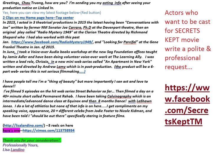 Actress Lori Ruth Ingram from Hollywood, Florida wrote this review - movie producer sample resume