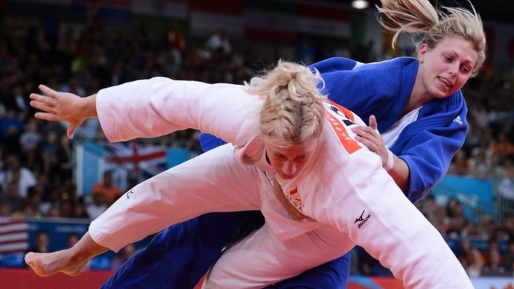 London-born Judoka Gemma Gibbons (blue) has become Great Britain's first Olympic judo medallist for 12 years, winning silver in the final of the 78kg women's competition. She was beaten by American Kayla Harrison in the gold medal match.