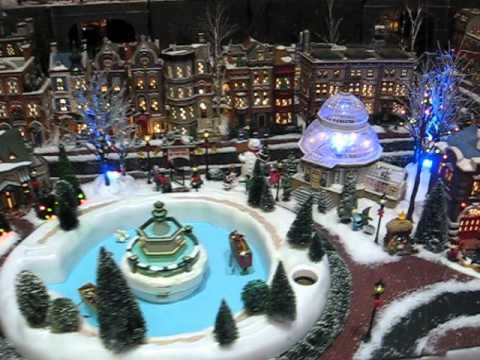 Christmas in the City - Dept. 56 Village display in a private home by designer, Bill Sheldon Designs