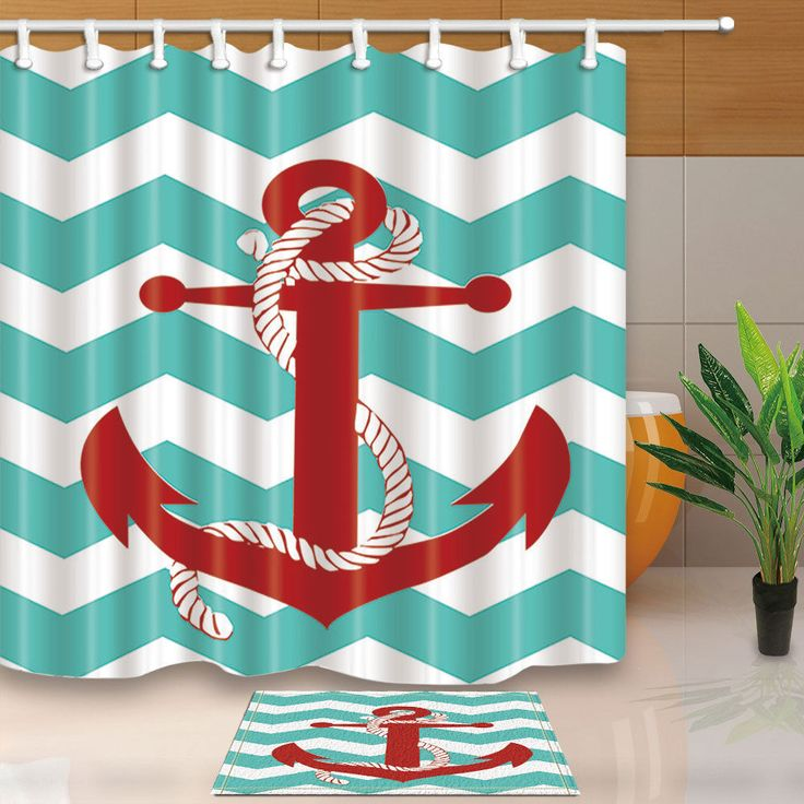 red and teal shower curtain. Nautical Fabric Shower Curtain Set Red Anchor And Blue Stripes Bathroom  Best 25 curtain set ideas on Pinterest shower