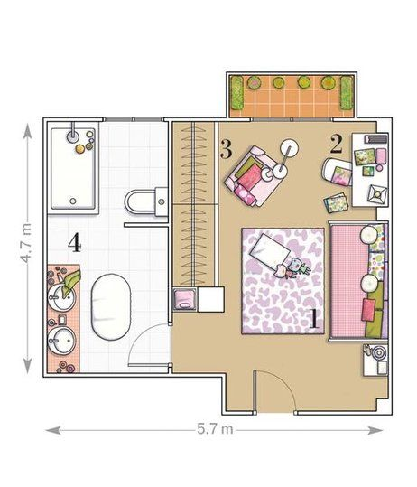 17 best images about planos de habitaciones on pinterest for Planos de cuartos de bano
