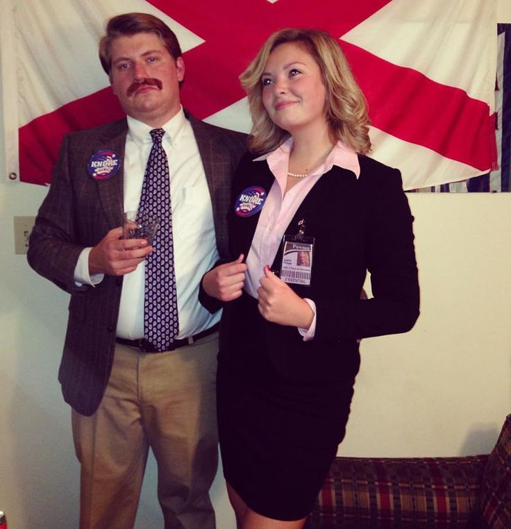 Nailing your Ron Swanson and Leslie Knope costume. TSM.