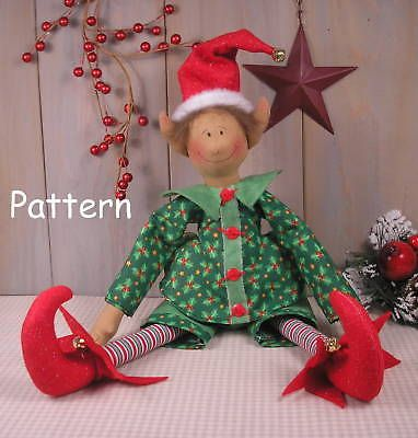PATTERN-Christmas-Elf-Primitive-Vintage-Raggedy-Cloth-Doll-Sewing-Craft-Folk-Art