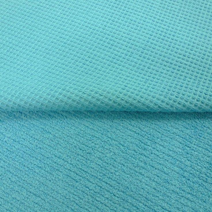 Stofje Wafelstof badstof aqua blauw