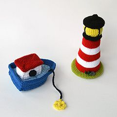 Lighthouse and boat amigurumi crochet pattern by The Flying Dutchman Crochet Design