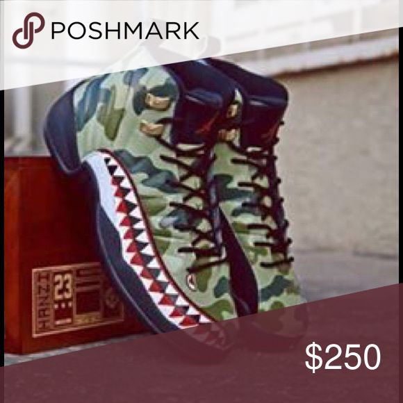 For a limited time selling jump-man 12's Michael Jordan jump man retro 12's bape camo a custom colorway of the retros 12's in full bape camo designed by jumpman23 Jordan Shoes Sneakers