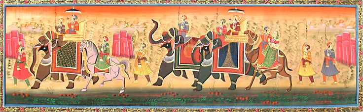 Rajput Procession (Miniature Painting on Silk Cloth - Unframed)