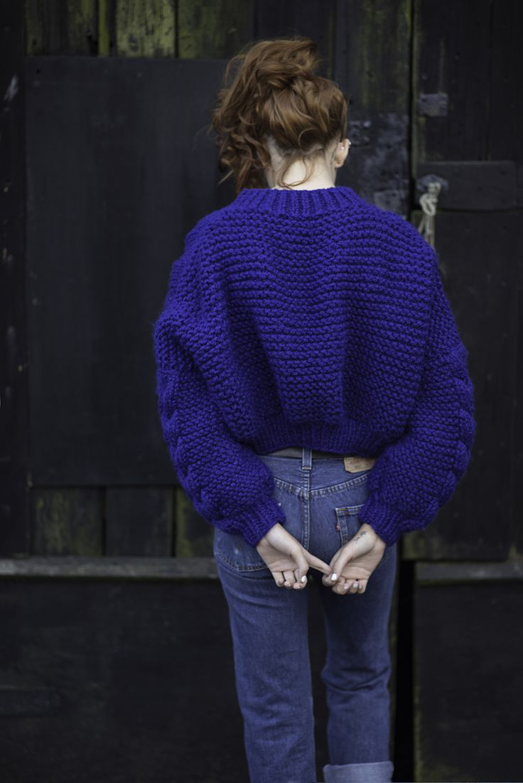 Oversized Chunky Knit Bomber Jacket