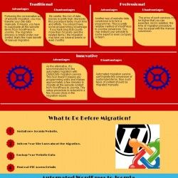 This infographic shows you the difference between WordPress and Joomla and illustrates three alternatives ways on how to make the migration.