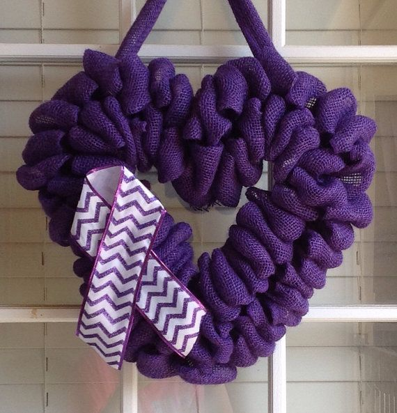 Burlap Wreath Epilepsy Awareness Wreath Door by JnSMDesigns