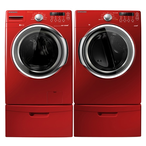 Samsung makes washing your family's clothes fun again! Check out this seductive Samsung Steam Front Load Washer / Dryer Pair in red. The washer features a quiet operating high efficiency washer, vibration reduction technology while the dryer offers sensor dry technology, 4 way electric venting, lint filter indicator, and can easily accommodate a king-size comforter.