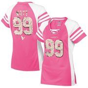 Women's Houston Texans JJ Watt Majestic Pink Draft Him IV T-Shirt