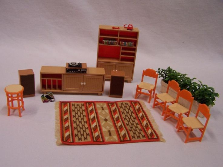 Vintage Tomy Dollhouse Furniture Living Room Tables Cabinet Shelves Stereo More! #TOMY