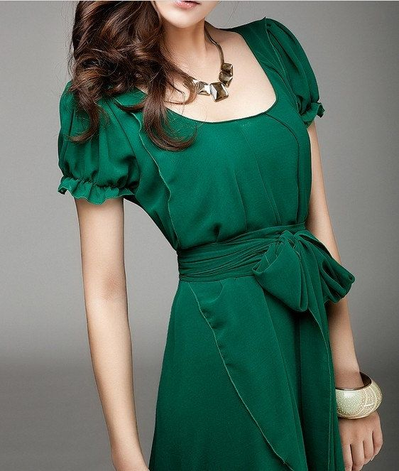 Women's Jade Green Color Chiffon Long Skirt  by colorfulday01, $79.99