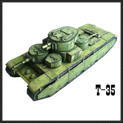 WWII Soviet T-35 Heavy Tank Paper Model Free Template Download - http://www.papercraftsquare.com/wwii-soviet-t-35-heavy-tank-paper-model-free-template-download.html
