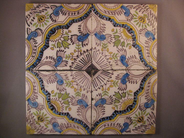 4 Antike Polychrome Fliesen Kachel Tegel Gekleurde Beugelbladen Dutch Tiles Nr2