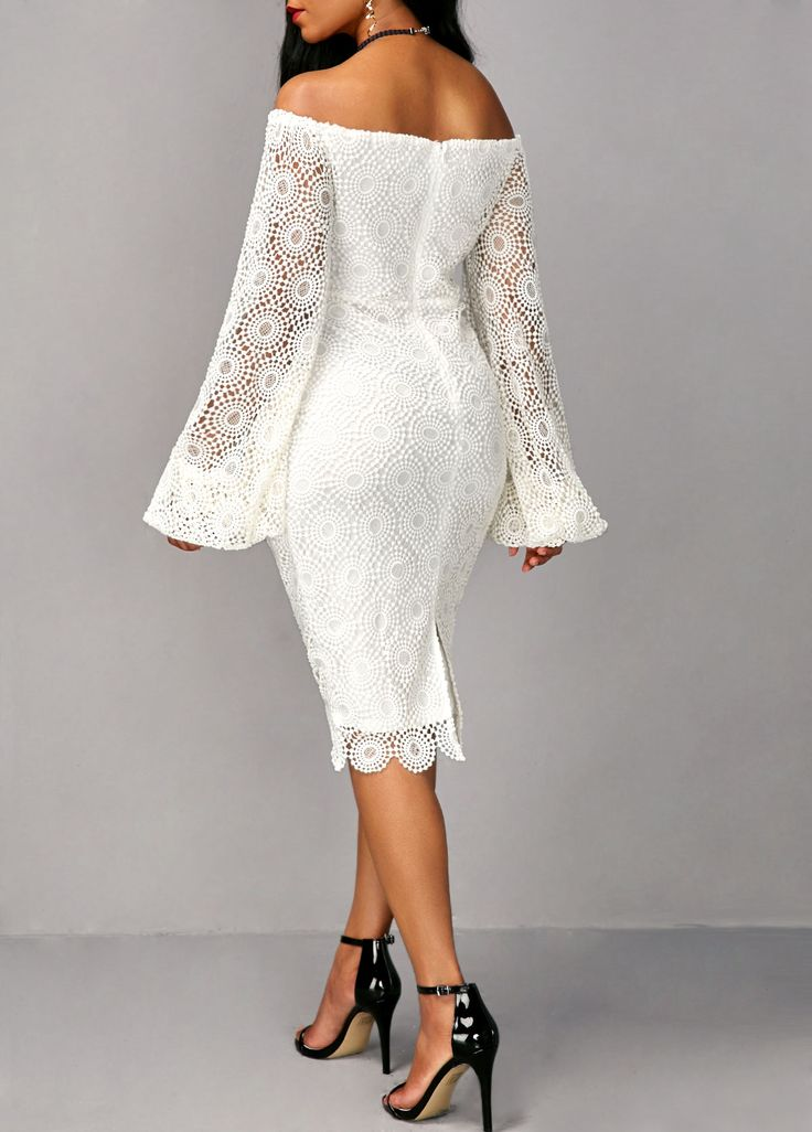 Off the Shoulder Long Sleeve White Sheath Dress on sale only US$37.26 now, buy cheap Off the Shoulder Long Sleeve White Sheath Dress at liligal.com