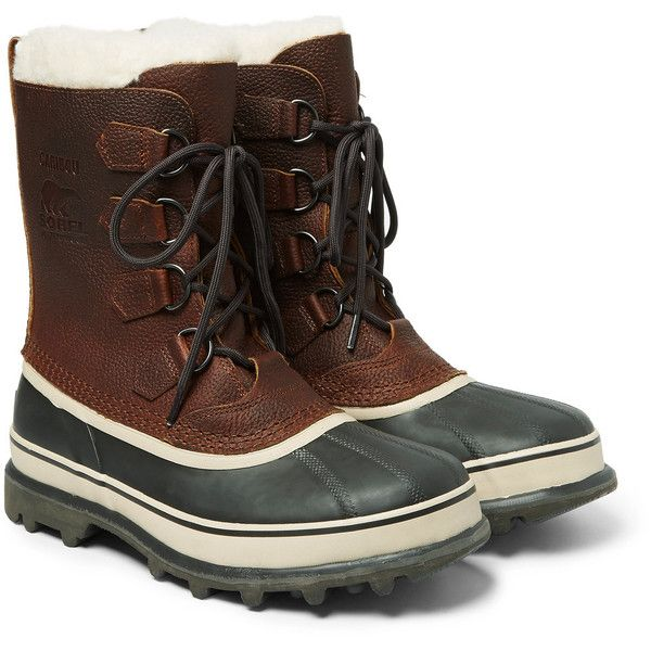 Sorel Caribou Waterproof Full-Grain Leather and Rubber Snow Boots (€160) ❤ liked on Polyvore featuring men's fashion, men's shoes, men's boots, mens rubber shoes, mens waterproof snow boots, sorel mens boots, mens waterproof boots and mens rubber boots