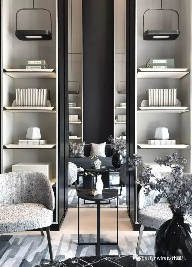 Integrated pendant lighting within bookcases // Symmetry