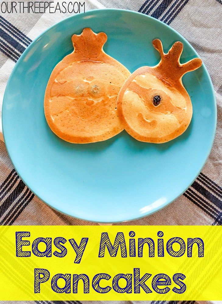 Make these Easy Minion Pancakes and watch the new Minion Movie for the perfect #MinionsMovieNight! #ad   Our Three Peas